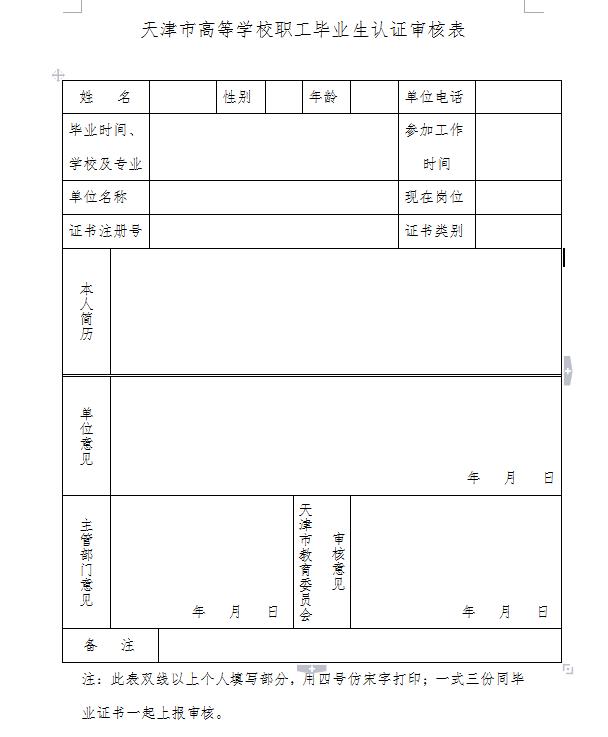 天津市高等院校职工毕业生认证申请表